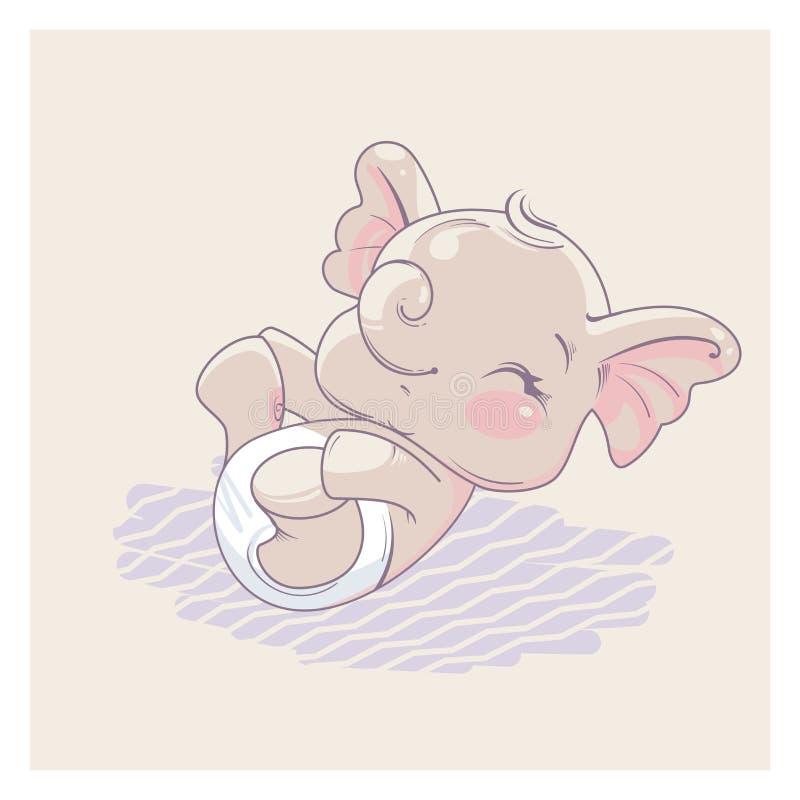 逗人喜爱的小的大象当女婴 库存例证