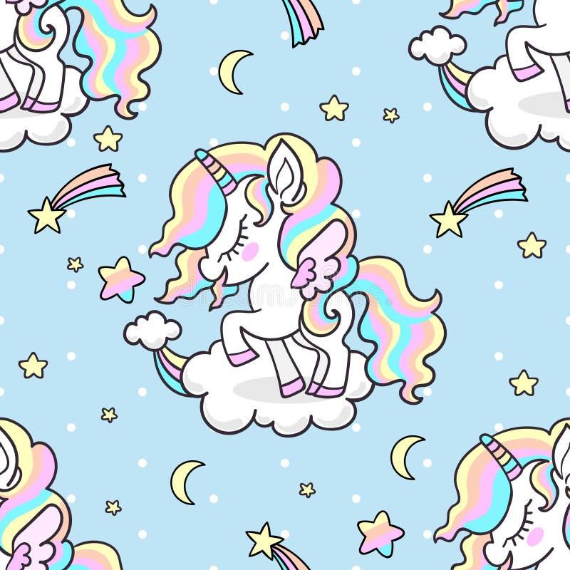 逗人喜爱的小的彩虹独角兽 无缝的模式 皇族释放例证