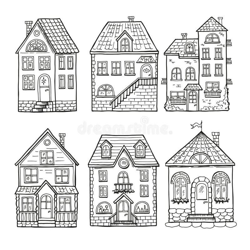 逗人喜爱的小的房子和不同的屋顶 乱画家的传染媒介例证 向量例证