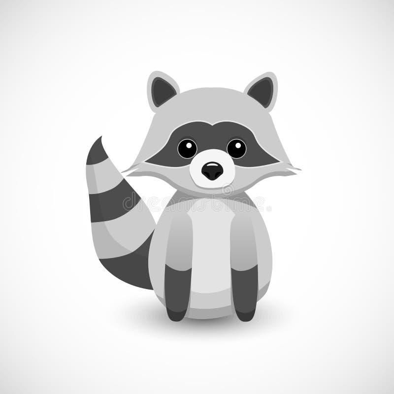 逗人喜爱的小的浣熊动画片设计 库存图片