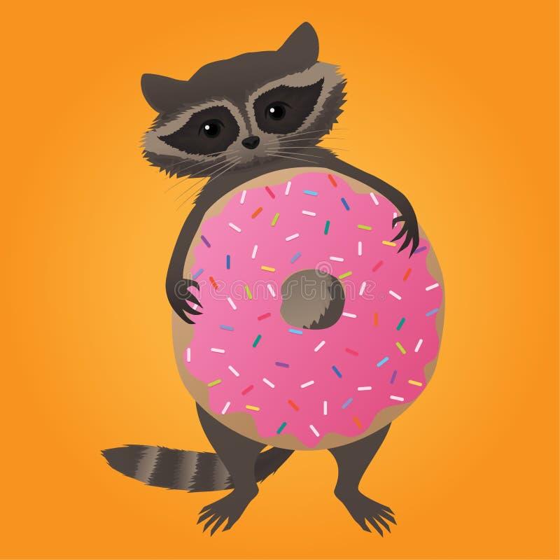逗人喜爱的小的浣熊用多福饼 向量例证
