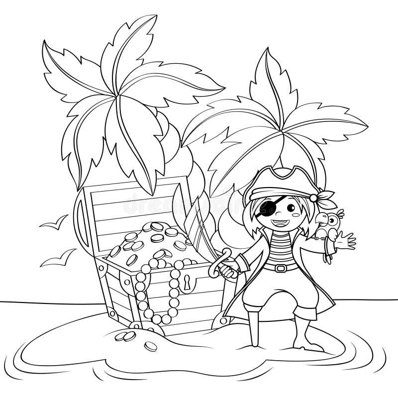 逗人喜爱的小的海盗和宝物箱在离开的海滩与棕榈树 彩图的黑白例证 向量例证