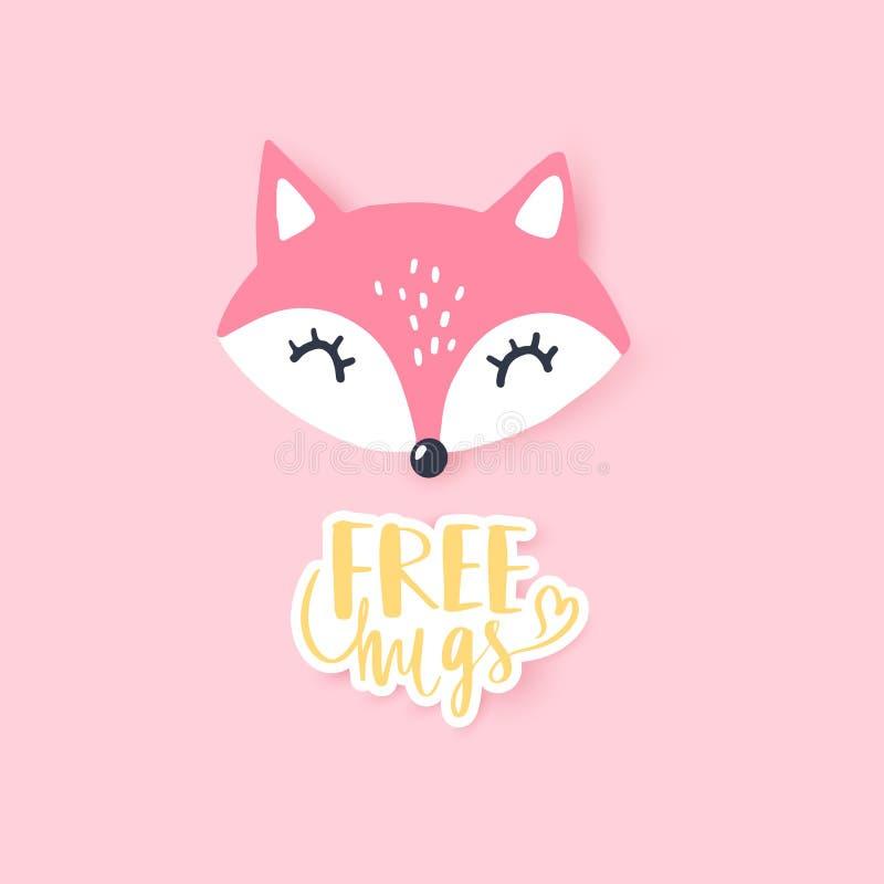 逗人喜爱的小的狐狸 传染媒介动物例证 手拉的动画片狐狸 向量例证