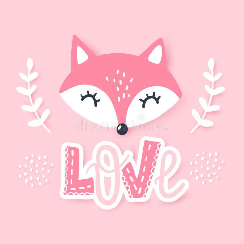 逗人喜爱的小的狐狸 传染媒介动物例证 手拉的动画片狐狸 库存例证