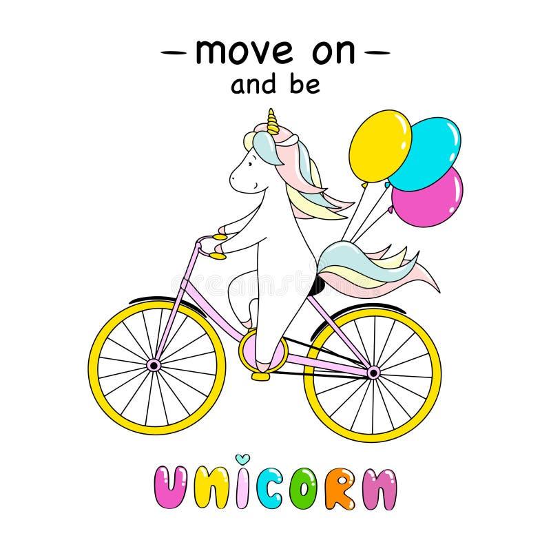 逗人喜爱的小的独角兽骑有气球的一辆自行车 继续前进和是独角兽字法 向量例证