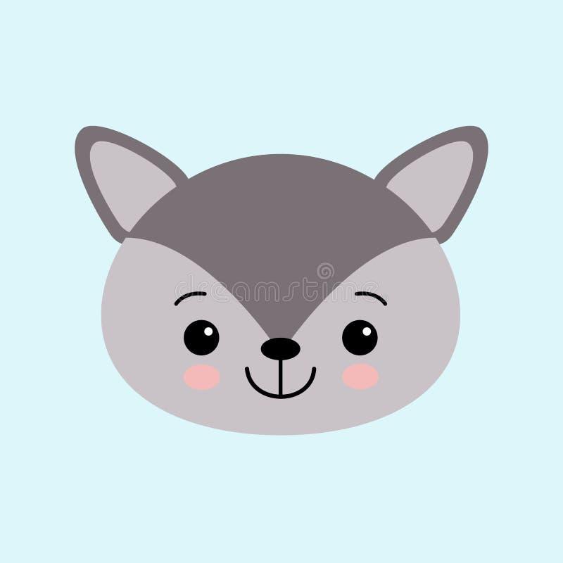 逗人喜爱的小的狼的图象在动画片样式的 传染媒介儿童s例证 皇族释放例证