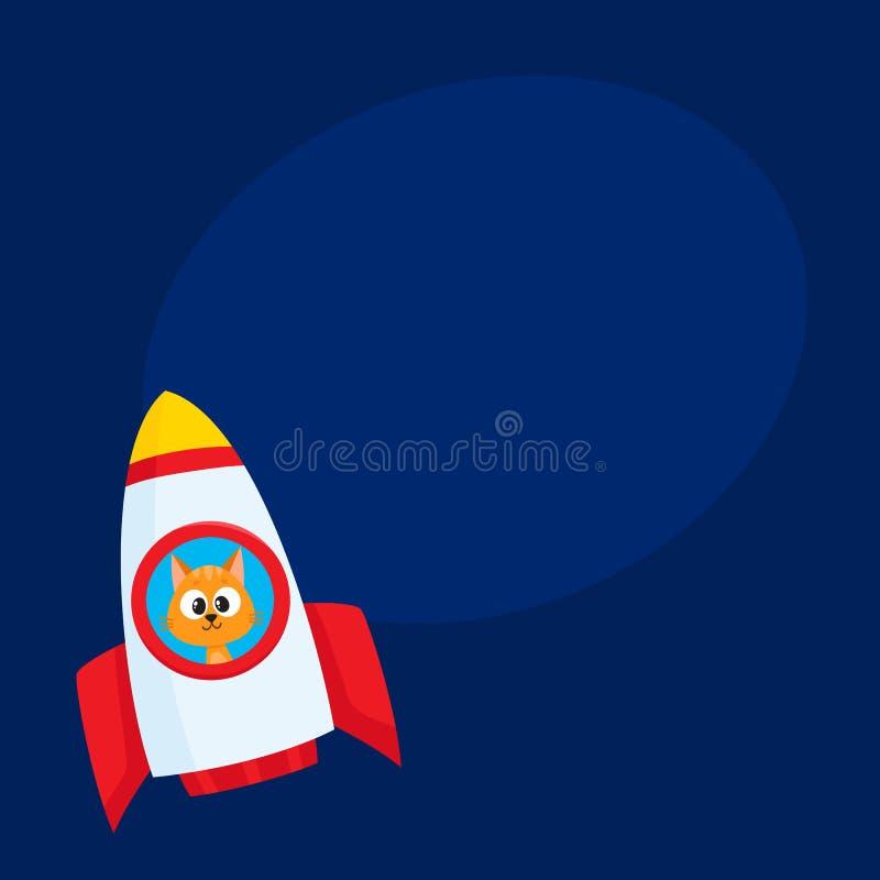 逗人喜爱的小的猫,小猫宇航员,太空人在火箭的字符飞行 皇族释放例证
