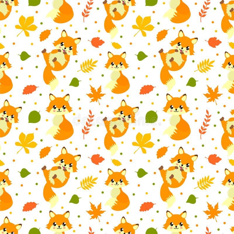 逗人喜爱的小的秋天狐狸无缝的样式 滑稽的不尽的背景,纹理 Children';s背景 r 向量例证