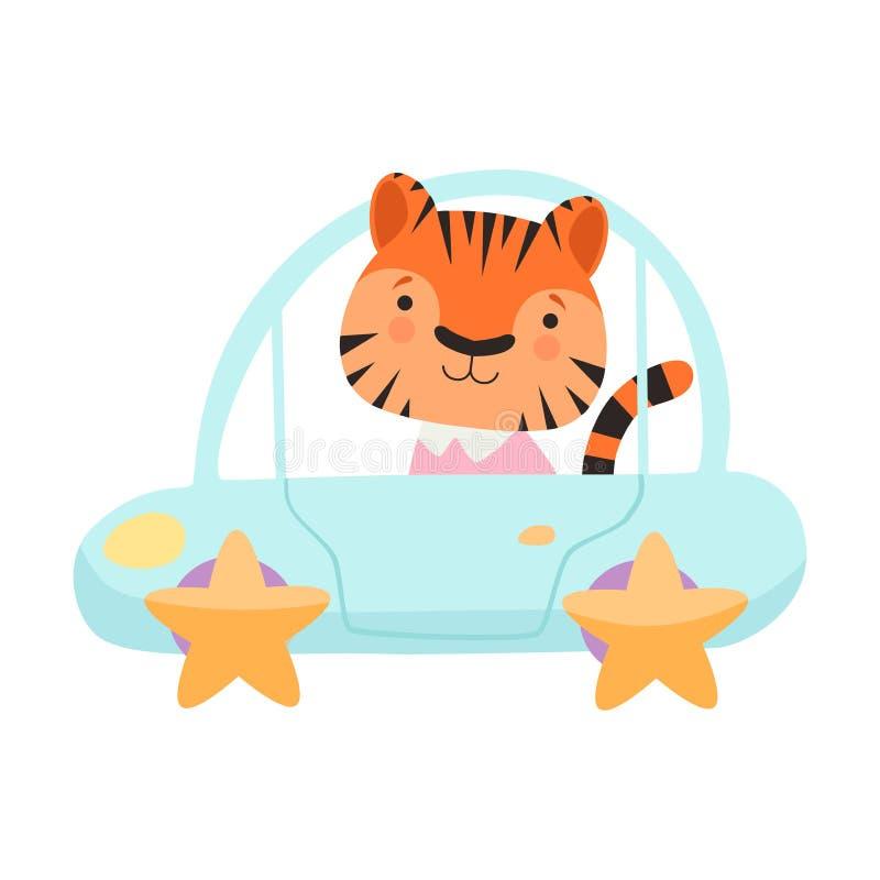 逗人喜爱的小的老虎骑马玩具汽车,在运输传染媒介例证的滑稽的可爱的动物 库存例证