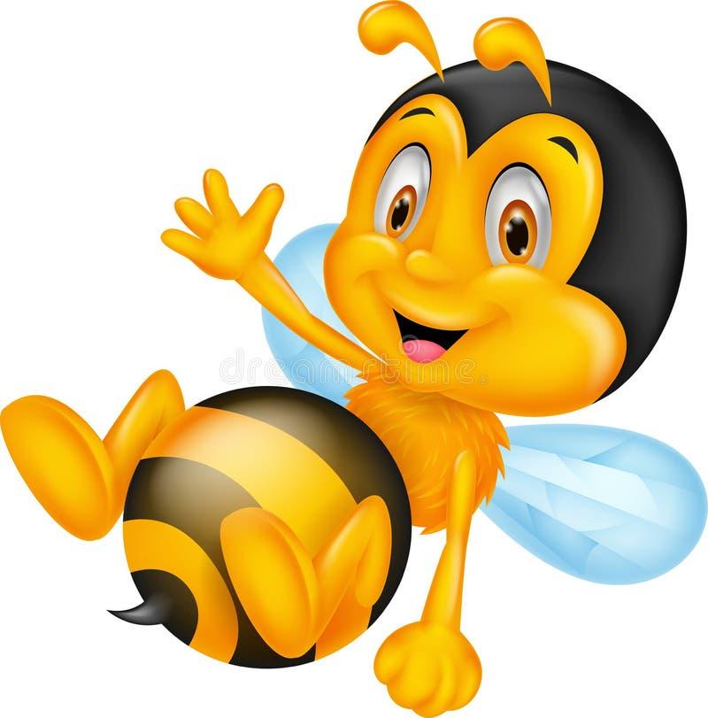 逗人喜爱的小的蜂动画片挥动的手 向量例证
