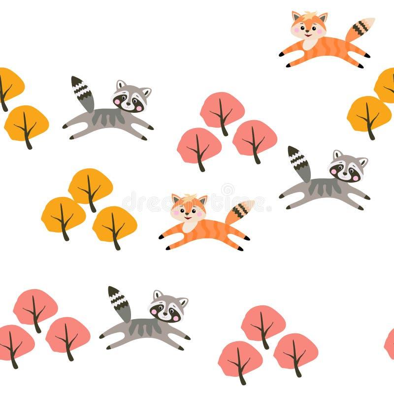 逗人喜爱的小的跳跃在秋天森林里的raccons和狐狸隔绝在传染媒介的白雪背景 无缝的幼稚样式 库存例证