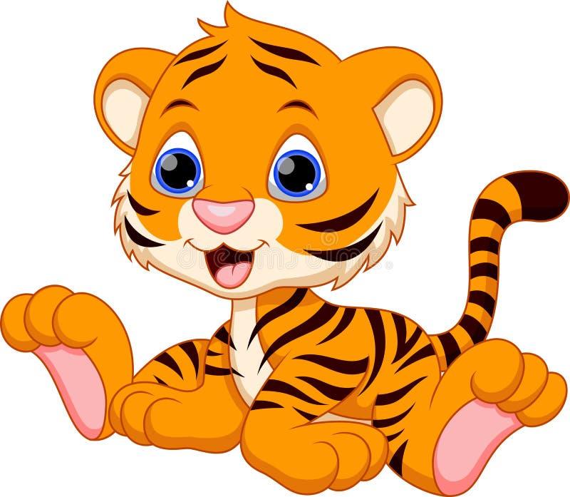 逗人喜爱的小老虎动画片 向量例证