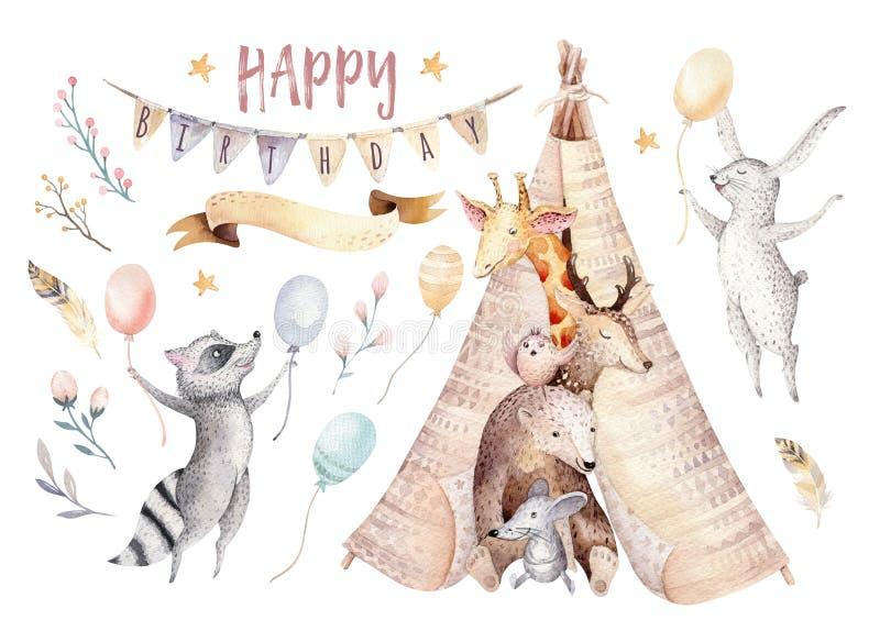 逗人喜爱的小长颈鹿,鹿动物托儿所老鼠和熊、浣熊和兔宝宝隔绝了孩子的例证 水彩 向量例证
