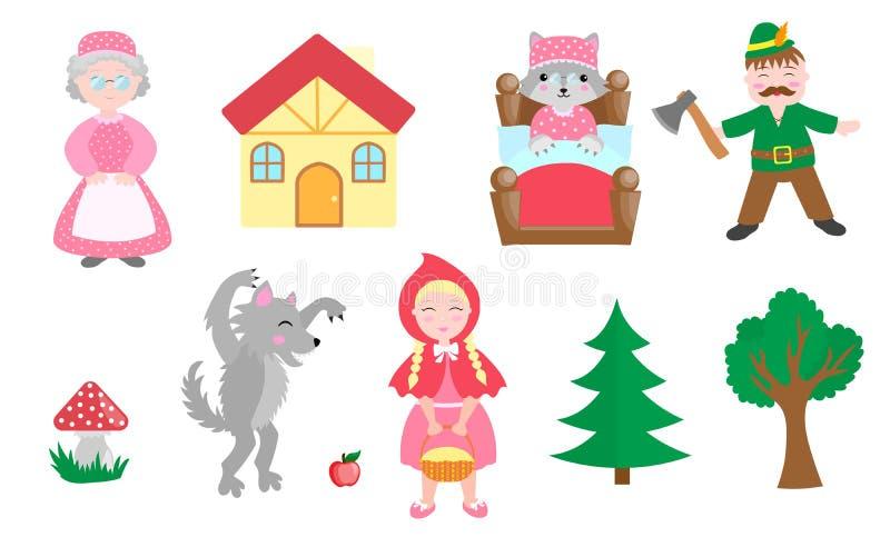 逗人喜爱的小雷德河骑马兜帽设置了对象 汇集与俏丽的女孩的设计元素和她的祖母、狼、樵夫和树 皇族释放例证