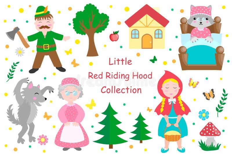 逗人喜爱的小雷德河骑马兜帽设置了对象 汇集与俏丽的女孩的设计元素和她的祖母、狼、樵夫和树 向量例证