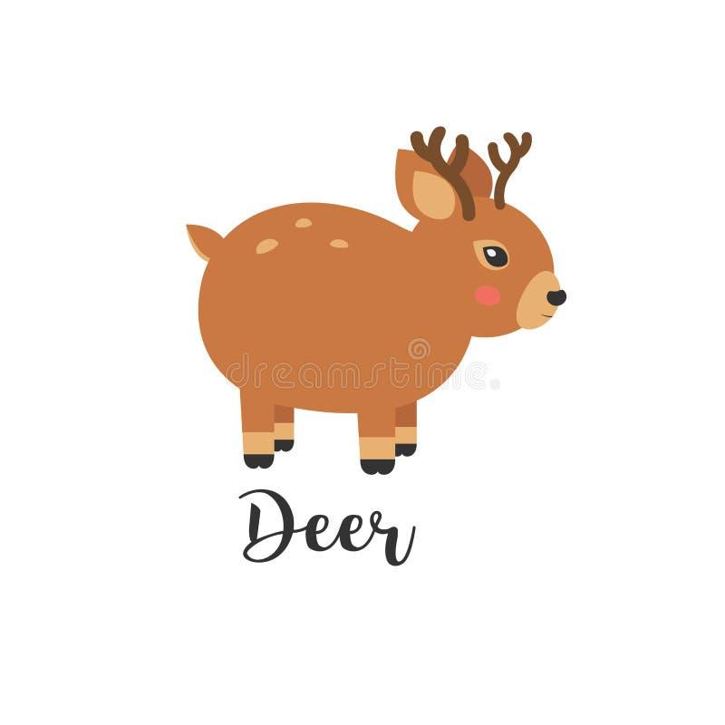 逗人喜爱的小鹿动画片的传染媒介例证 传染媒介小动物和手信件 与逗人喜爱的鹿的贺卡 徽标 皇族释放例证