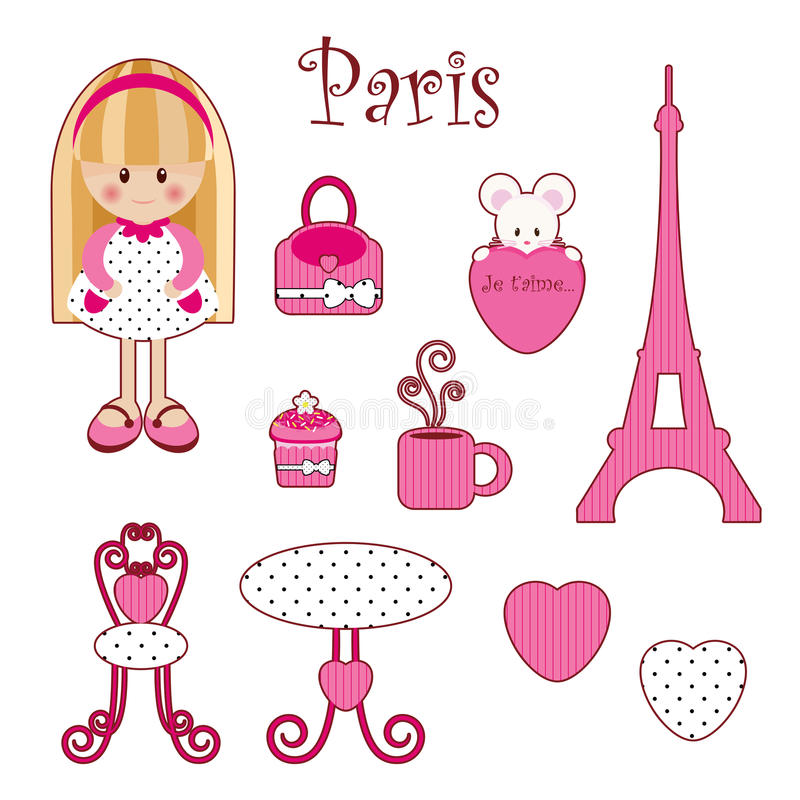 逗人喜爱的少女粉红色集 向量例证