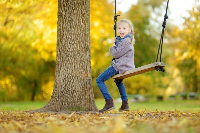 逗人喜爱的少女获得在摇摆的乐趣在晴朗的秋天公园 家庭周末在城市 图库摄影