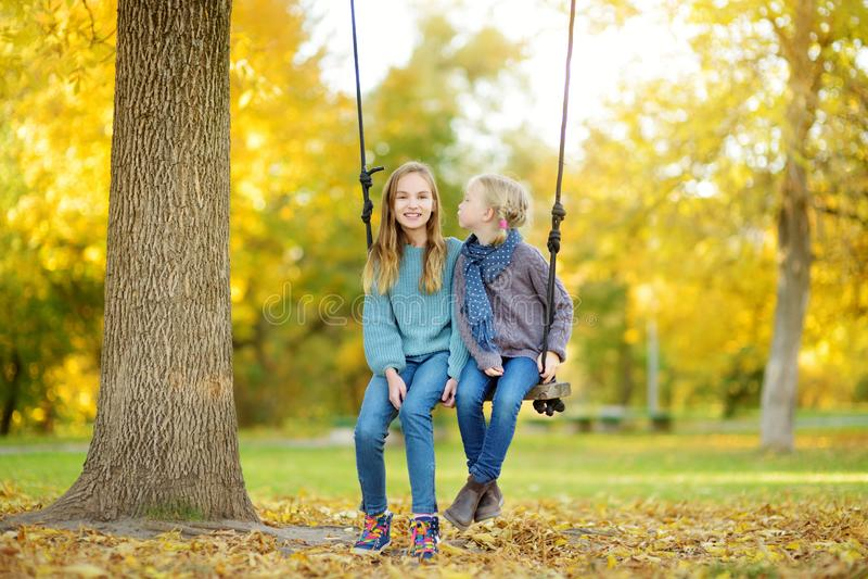 逗人喜爱的少女获得在摇摆的乐趣在晴朗的秋天公园 家庭周末在城市 免版税库存照片