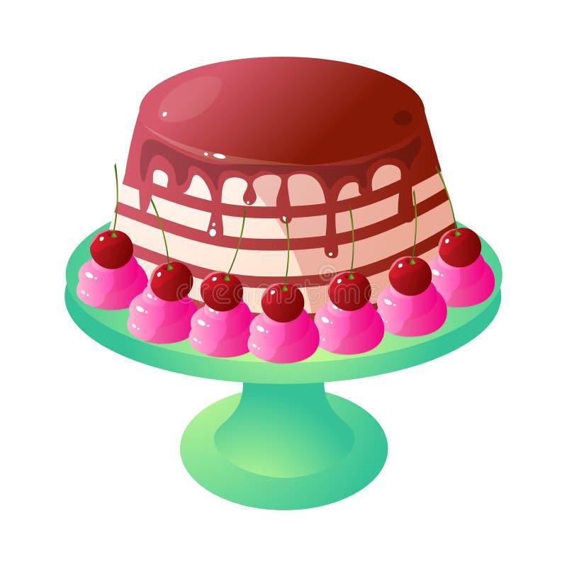 逗人喜爱的巧克力乳脂状的蛋糕用在立场的红色樱桃 向量例证