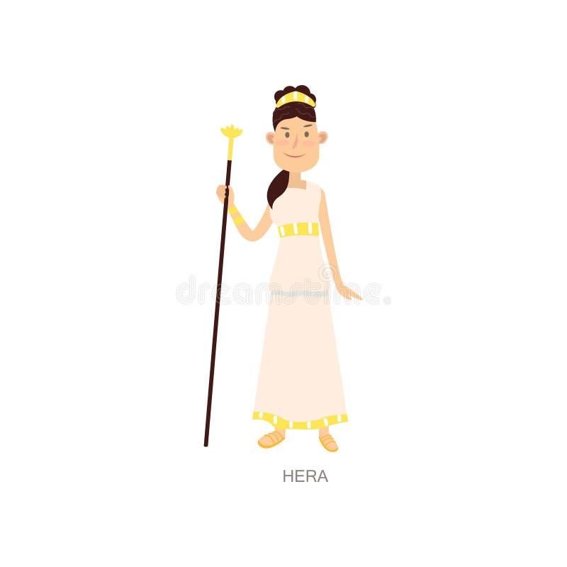 逗人喜爱的希腊神话古老妇女神hera 向量例证