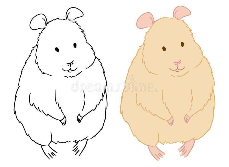逗人喜爱的常设仓鼠上色页在白色背景的 孩子和孩子的彩图 r 库存例证