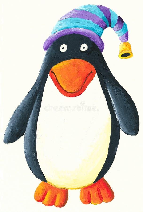 逗人喜爱的帽子企鹅 库存例证