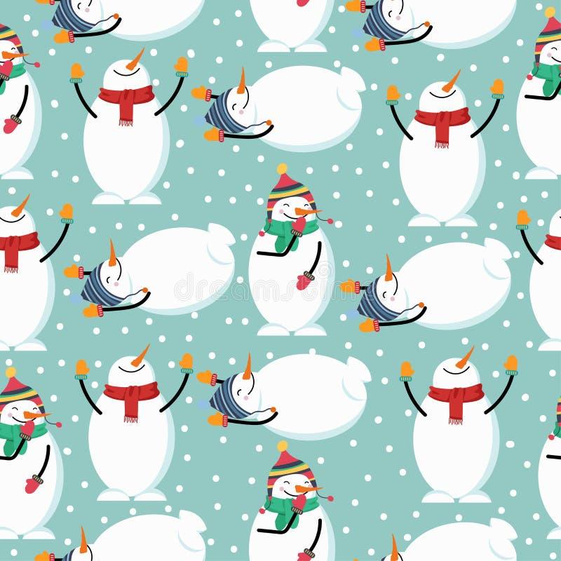 逗人喜爱的平的与雪人的设计圣诞节无缝的样式 皇族释放例证