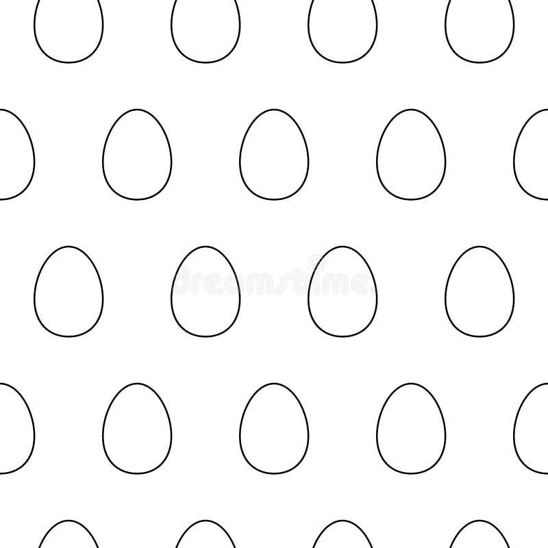 逗人喜爱的平的线蛋样式用线性鸡蛋 美好的传染媒介黑白蛋样式 向量例证