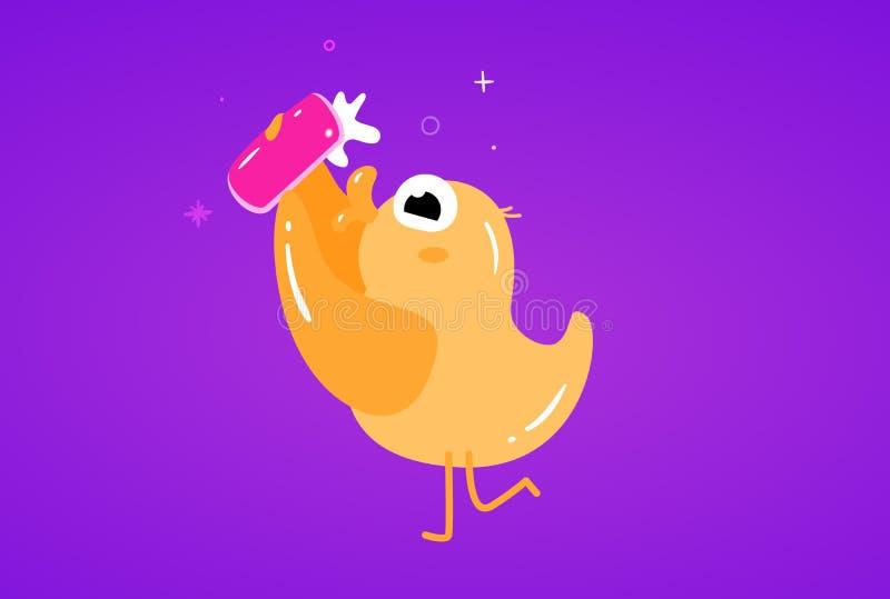 逗人喜爱的平的鸭子在一个手机传染媒介例证做selfie 皇族释放例证