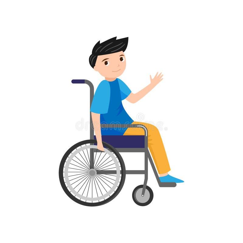 逗人喜爱的年轻微笑的男孩在轮椅问好 库存例证