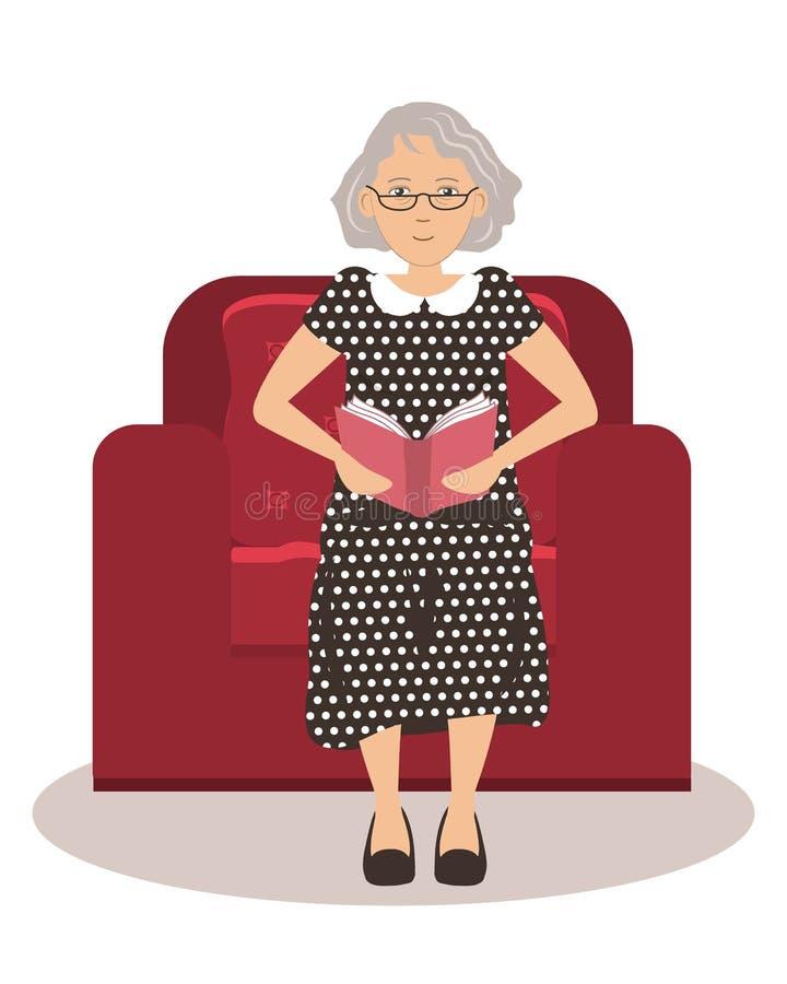 逗人喜爱的年长夫人在一把红色扶手椅子坐并且读书 向量例证