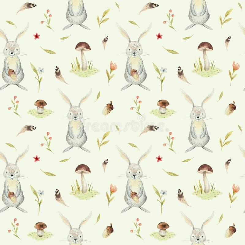 逗人喜爱的幼儿园的小兔子动物无缝的样式,托儿所隔绝了儿童衣物的例证 库存例证