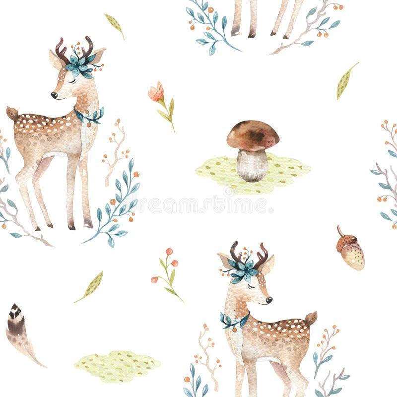 逗人喜爱的幼儿园的小鹿动物无缝的样式,托儿所隔绝了儿童衣物的例证 水彩 库存例证