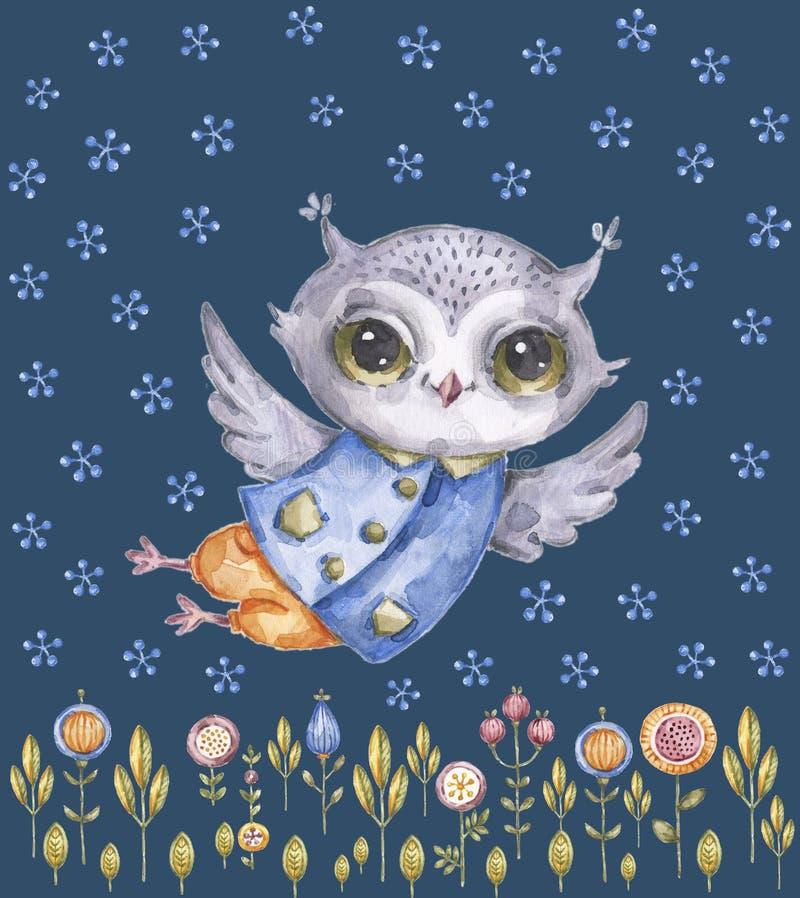 逗人喜爱的幼稚水彩猫头鹰,花卉背景 库存例证