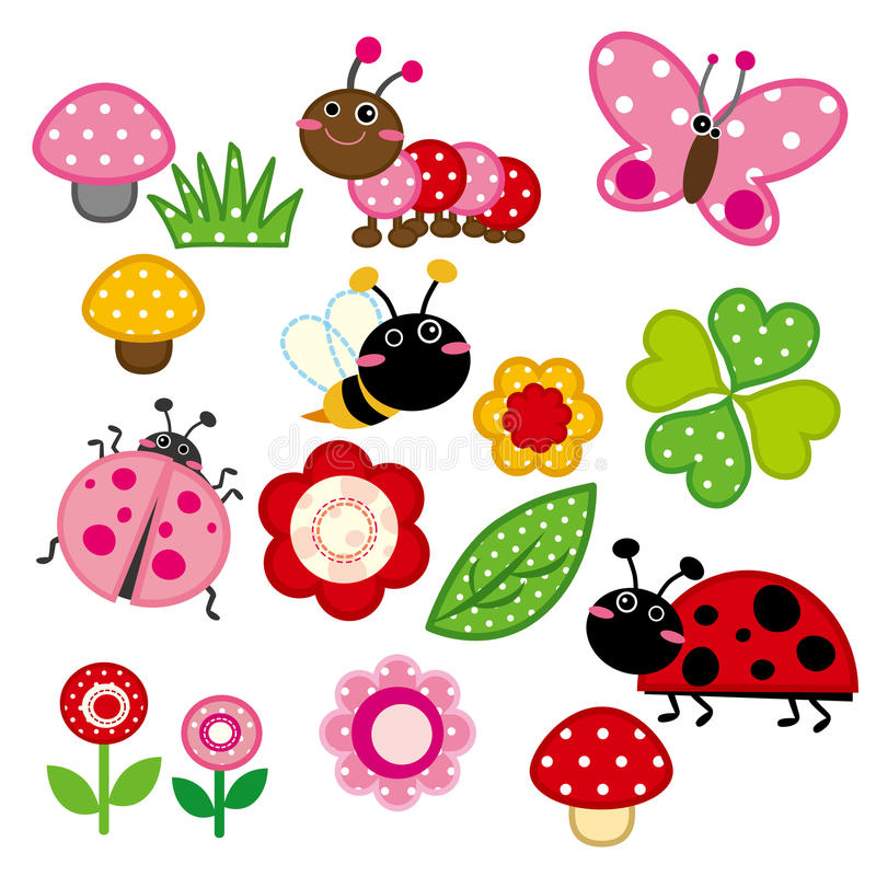 逗人喜爱的庭院昆虫 向量例证