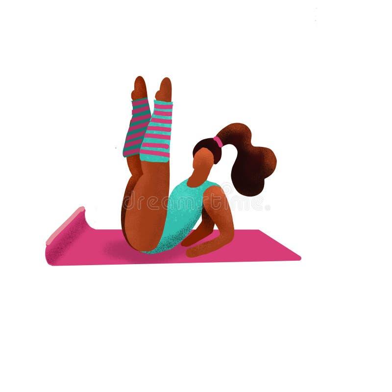 逗人喜爱的异常的字符女孩提起了她的腿 健身房健身妇女 体育形象 健康有氧生活方式概念 妇女挥动  皇族释放例证