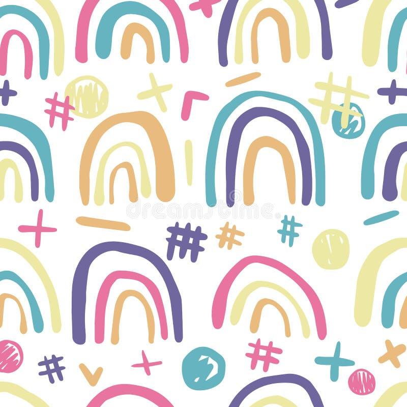 逗人喜爱的彩虹无缝的样式 手拉的潦草墙纸 皇族释放例证