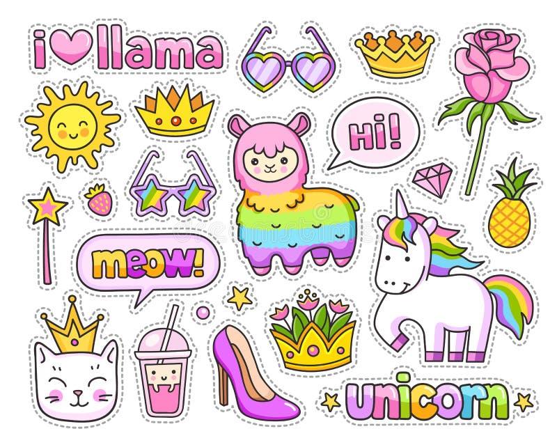 逗人喜爱的彩虹骆马,羊魄,不可思议的独角兽,猫,冠,玫瑰,菠萝,太阳,太阳镜,讲话泡影 皇族释放例证