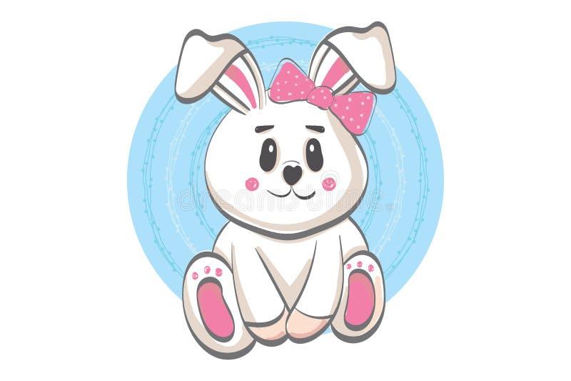 逗人喜爱的微笑的兔子例证-传染媒介平的动画片样式 库存例证