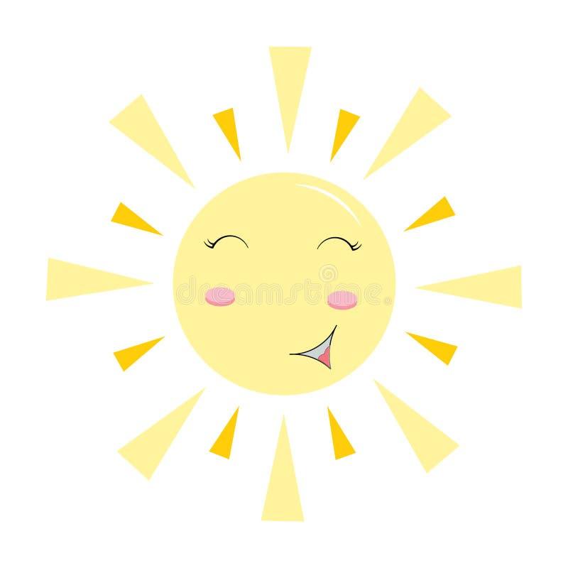逗人喜爱的微笑的太阳字符 愉快的星期日 明亮的晴朗的例证 向量例证