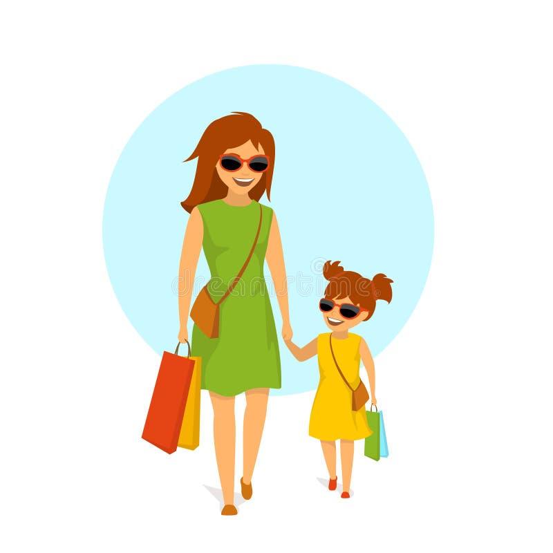 逗人喜爱的微笑的母亲和女儿、走的妇女和的女孩握手一起购物 皇族释放例证
