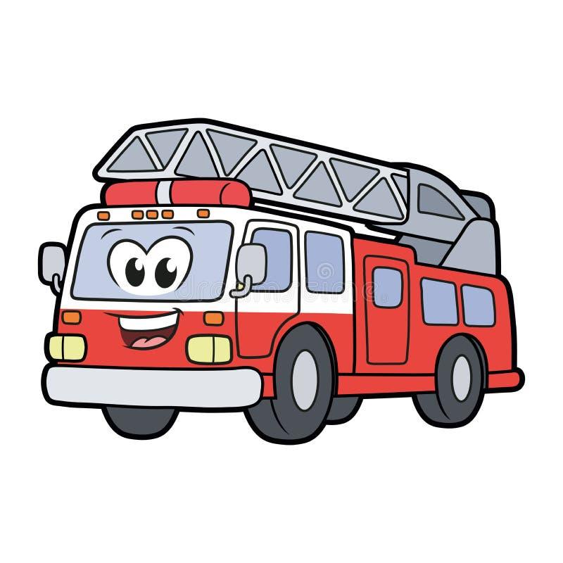 逗人喜爱的微笑的消防车 库存例证