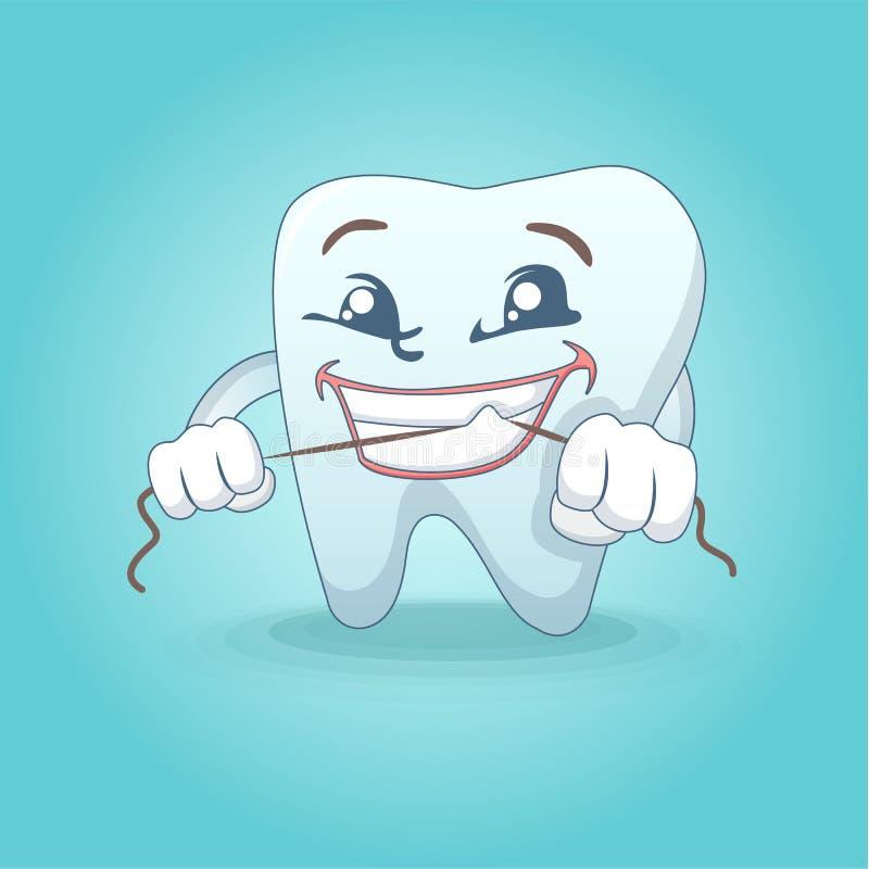 逗人喜爱的微笑的牙概念背景,动画片样式 库存例证