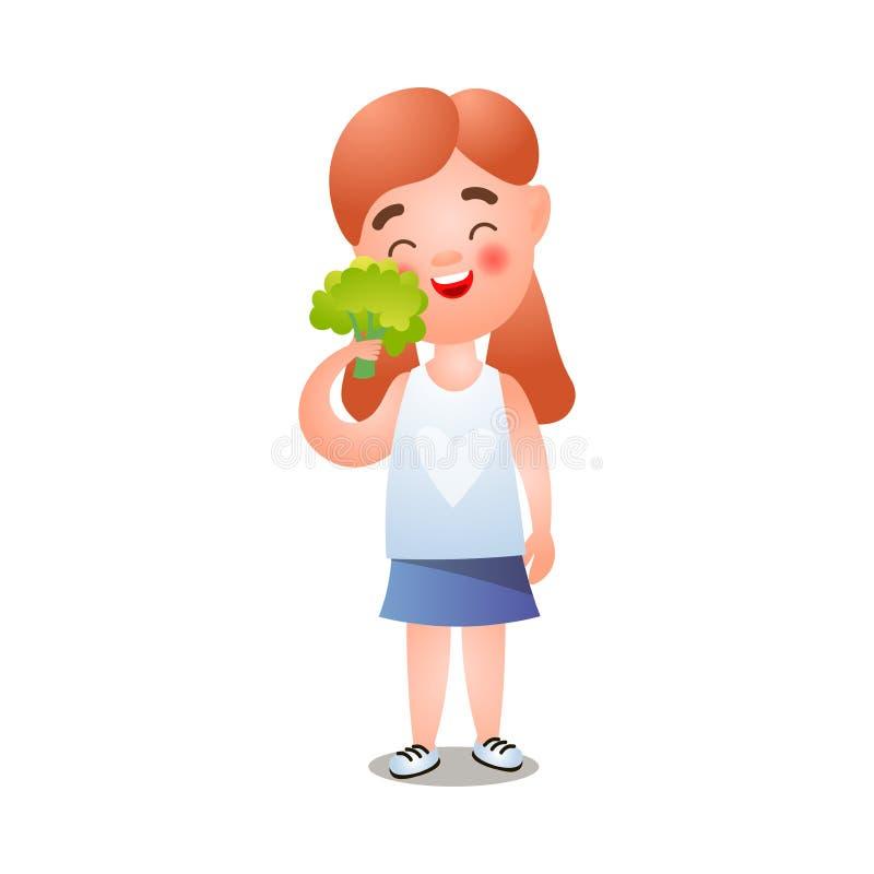 逗人喜爱的微笑的红色头发女孩采取新鲜的绿色硬花甘蓝 皇族释放例证