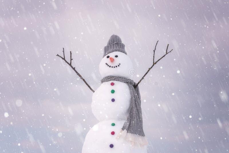逗人喜爱的微笑的雪人在冬日,节日快乐概念 免版税库存图片