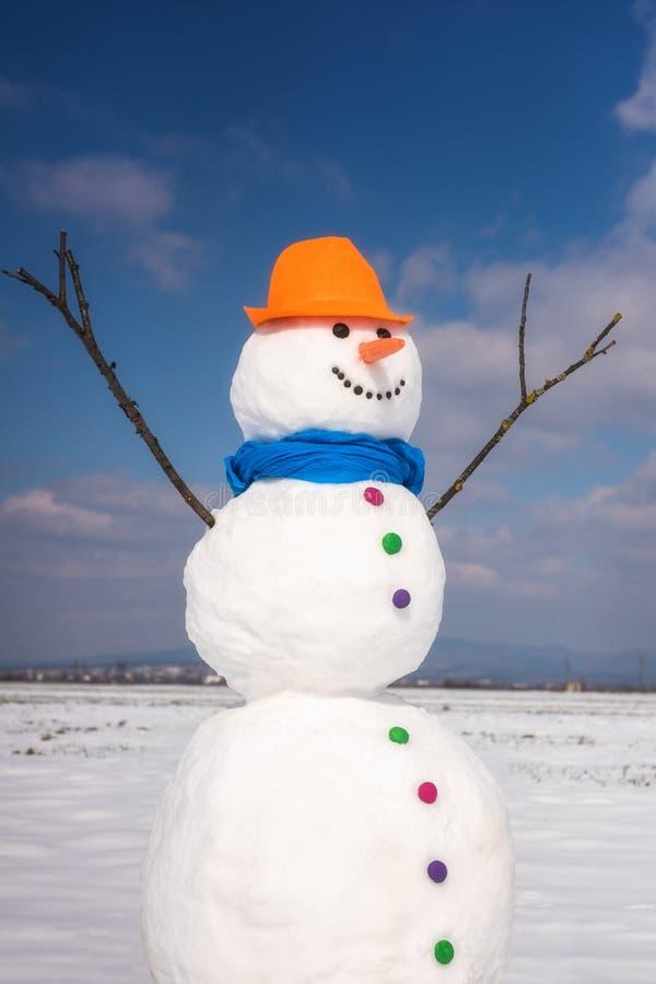 逗人喜爱的微笑的雪人在冬日,节日快乐概念 库存图片