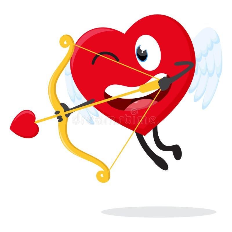 逗人喜爱的心脏丘比特动画片汇集集合 向量例证