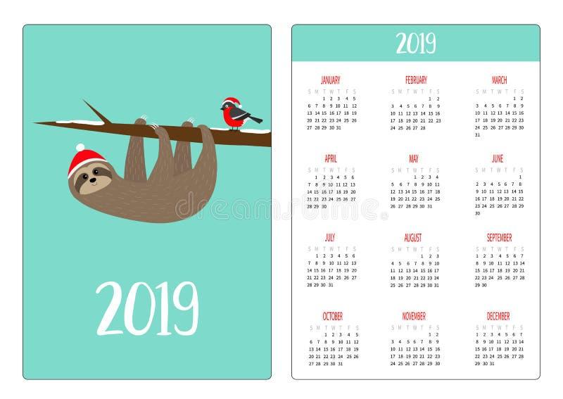 逗人喜爱的怠惰,在分支的bulfinch 帽子红色圣诞老人 简单口袋日历布局2019新年 星期星期天开始 背景漫画人物厚颜无耻的逗人喜爱的狗愉快的题头查出微笑白色 皇族释放例证