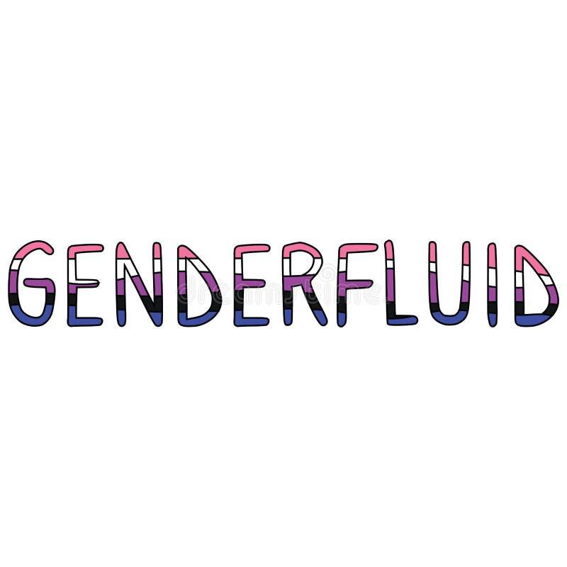 逗人喜爱的性别可变的印刷术动画片传染媒介例证主题集合 手拉的被隔绝的LGBTQ自豪感元素clipart为 向量例证
